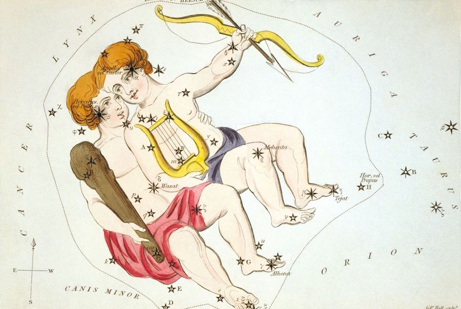 Image description: a colored Georgian engraving on cream background showing a stylized image of the subject of the constellation Gemini (the twins) against the actual positions of the stars and the relative positions of neighboring constellations.