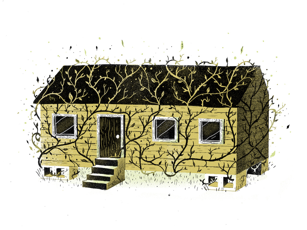 A dull yellow and gray print of a very small yellow house on cinderblocks overgrown with stylized vines, with the suggestion of green grass at the base of the house, all against a blank white field.