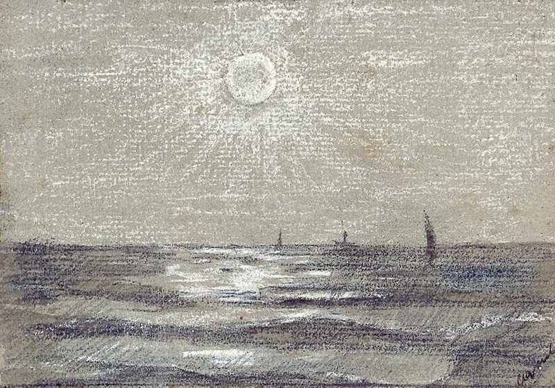 Image description: A silvery-gray pastel sketch of some boats and the implacable sun.
